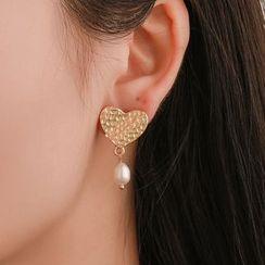 Mulyork - Alloy Heart Faux Pearl Dangle Earring