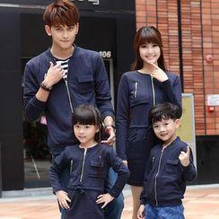 Igsoo - Family Matching Bomber Jacket / Long-Sleeve T-Shirt Dress
