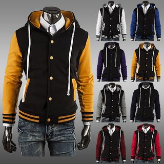 Sheck - Color-Block Hooded Baseball Jacket