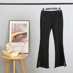 Sugar Town - Fray Hem Boot-Cut Jeans