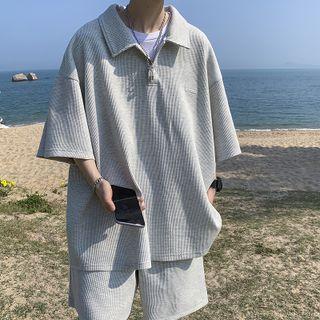FOEV - Short-Sleeve Ribbed Polo Shirt / Shorts / Set