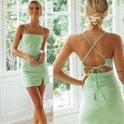 Ferola - Spaghetti Strap Open-Back Mini Bodycon Dress