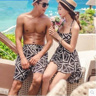 Salanghae - 情侶款圖案沙灘短褲 / 掛脖泳裙 / 泳褲 / 套裝