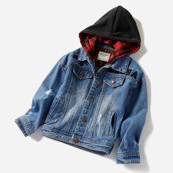 Happy Go Lucky - Kids Hooded Denim Jacket