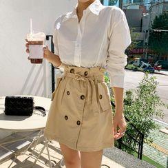 DEEPNY - Set: Shirt + Mini Trench Skirt