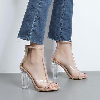 Niuna - Peep Toe Clear Block Heel Ankle Boots