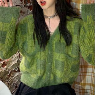 Avox - 長袖格子針織開衫