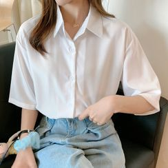 Costana - Short-Sleeve Button-Up Chiffon Shirt