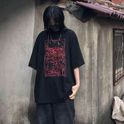 Porstina - Short-Sleeve Print Loose-Fit T-Shirt