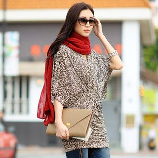 59 Seconds - Leopard Print Ruched Tunic