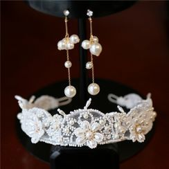 First Impression - Flower Faux Pearl Headband / Earring / Set