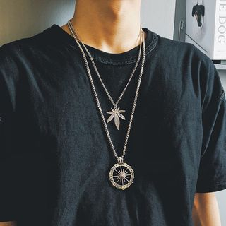 InShop Watches - Leaf Chain Necklace / Compass Chain Necklace / Set