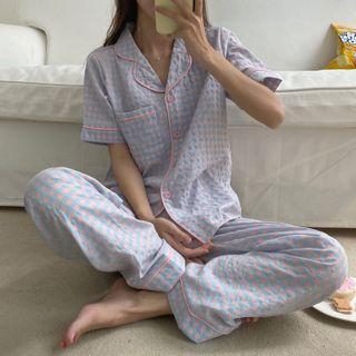 Sadelle - Checked Short-Sleeve Pajama Set