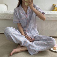 Sadelle(サデッレ) - Checked Short-Sleeve Pajama Set