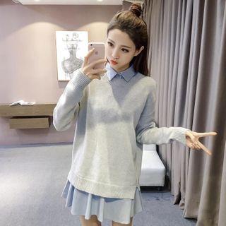 Nebbia - Plain Sweater / Long-Sleeve Mini A-Line Shirt Dress