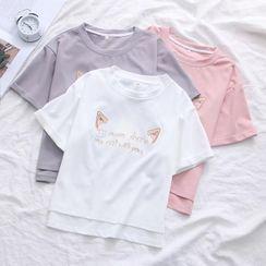 Mori Girls - 字母刺繡短袖T裇