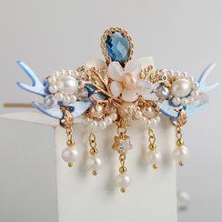 Kanzashi - 仿珍珠水钻花朵发簪