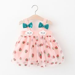 Mini Bae - Kids Embroidered Mesh Panel Bow Sleeveless Dress