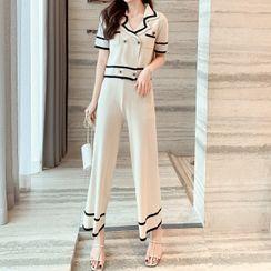 Donnae - Set: Short-Sleeve Knit Top + Wide Leg Pants