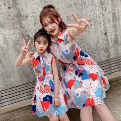 PAM - Kids Sleeveless Printed Midi A-Line Shirt Dress