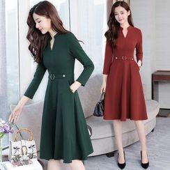 Jolly Club - Long-Sleeve Belt-Waist A-Line Midi Dress