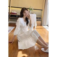 chuu - Laced Ruffled Cotton Pajama Dress