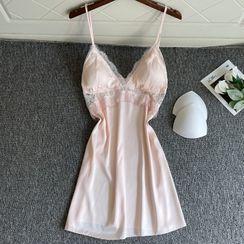 heartlyre - 蕾絲拼接絲質睡裙