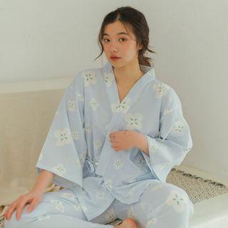 Furana - Pajama Set: Cat Print Top + Pants