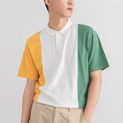 Orizzon(オリッゾン) - Short-Sleeve Color-Block Polo-Shirt