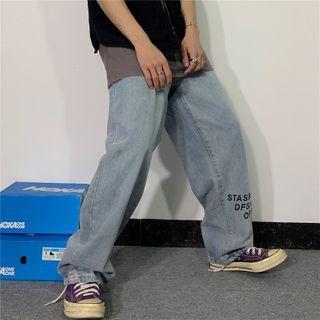 Koiyua - Lettering Wide-Leg Jeans