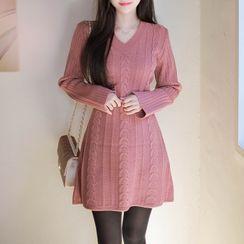 MyFiona - V-Neck A-Line Cable-Knit Dress