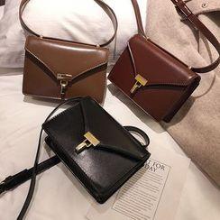 Mulgam - Faux Leather Push Lock Crossbody Bag