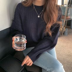 UPTOWNHOLIC - Round-Neck Perforated Knit Top