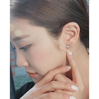 Miss21 Korea - Rhinestone Swan Silver Ear Studs
