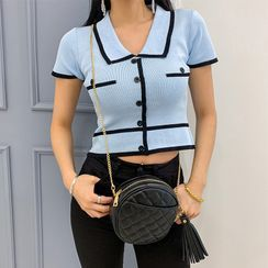 LIPHOP - Collared Piped Cropped Knit Top
