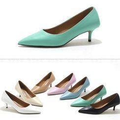 MODELSIS - Genuine Leather Pointy-Toe Pumps
