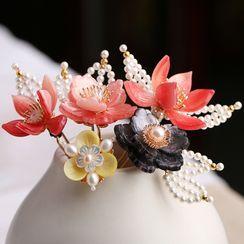 Kanzashi - Retro Pearl Flower Hair Stick