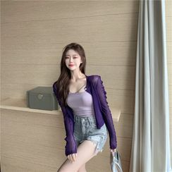 Conah - See-Through Cardigan / Camisole Top