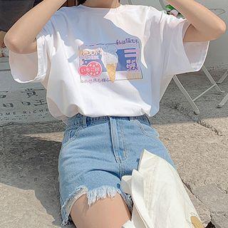 Fairyland - Ice-cream Cat Print Round Neck Oversized Short Sleeve T-Shirt