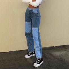 Sosana - Paneled Straight-Leg Jeans