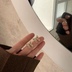 IFOUND - 仿珍珠蝴蝶结耳饰