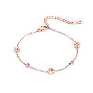 BELEC - Simple and Fashion Plated Rose Gold Roman Numerals Geometric Round Cubic Zirconia 316L Stainless Steel Anklet