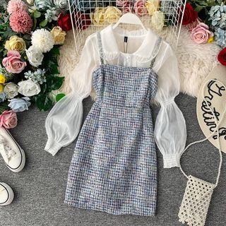 Yearnin - Set: Long-Sleeve Mesh Shirt + Spaghetti Strap Tweed Mini Dress