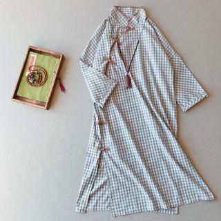 Vateddy - Long-Sleeve Mandarin Collar Plaid Midi A-Line Dress