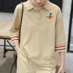 FANIA - Elbow-Sleeve Polo Shirt