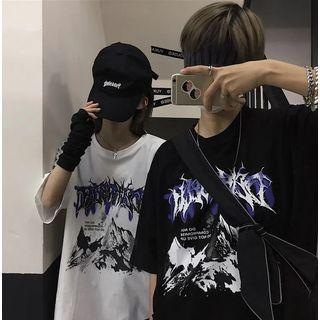 Shineon Studio - T-shirt à imprimé graphique et manches mi-longues