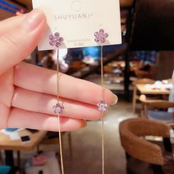 True Glam - Rhinestone Flower Dangle Earring