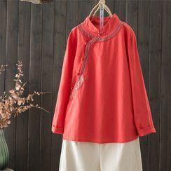 Mori Girls - Long-Sleeve Mandarin Collar Embroidered Blouse