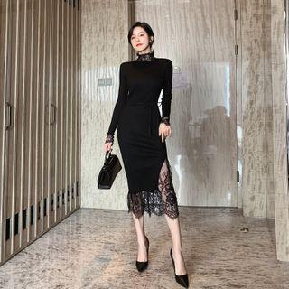 ZY·HT - Mock Two-Piece Long-Sleeve Midi Sheath Dress