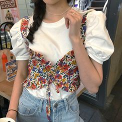 Dute(デュート) - Puff-Sleeve Top / Sleeveless Floral Print Top